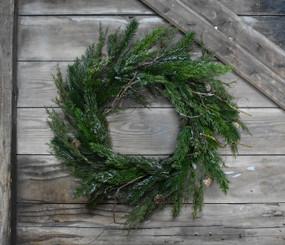 """FROSTED CYPRES 20"""" WREATH"""