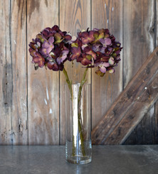 FAUX HYDRANGEA SPRAY - BURGUNDY - 18""