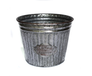"GALVANIZED FLOWER BUCKET - 13 x 10""H"