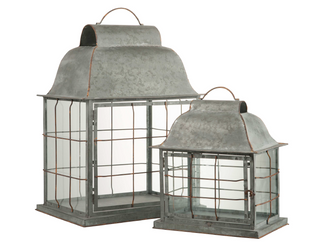 "GALVANIZED LANTERN - FARMHOUSE S/2 - 15""H, 23""H"