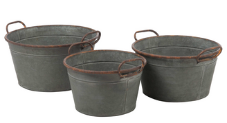 "GALVANIZED BUCKETS W/HANDLE S/3 - 11.5""D, 13.25""D, 15""D"