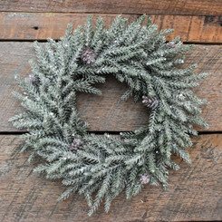 WINTER ICED PINE CANDLE RING - 11""