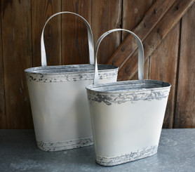 "GALVANIZED WALL BUCKET - SET/2 - 15 x 21.5"", 12 x 18.5"""