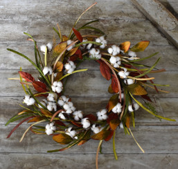 FAUX COTTON GRASS WREATH - 20""