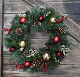 HOLIDAY ORNAMENT & PINE WREATH - 24""