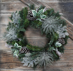 ICED PINE & HOLLY WREATH - 24""