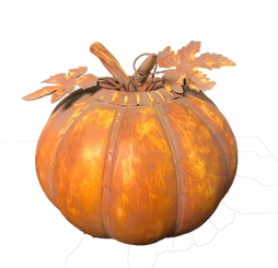 GALVANIZED ORANGE PUMPKIN  7.75 X 7.75""
