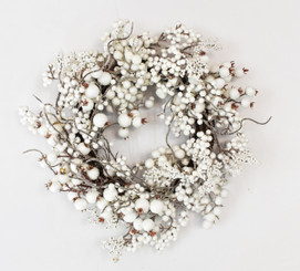 SNOWY WHITE BERRY WREATH - 16""
