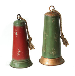 GALVANIZED HOLIDAY BELLS SET/2