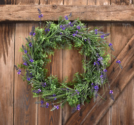 "LAVENDER WREATH  22"" FAUX"