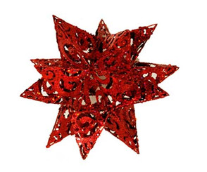 METAL GLITTER SNOWFLAKE - RED - 12""