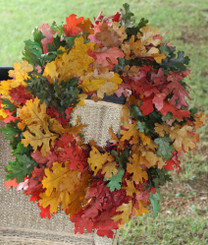 "OAK MIX WREATH - ORANGE/RED/GREEN - 24"" - 2/CS"