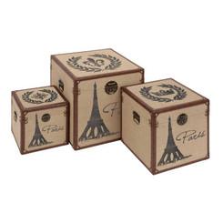 "Eiffel Tower Trunk 3pc Set - 20"", 16"", 12"""