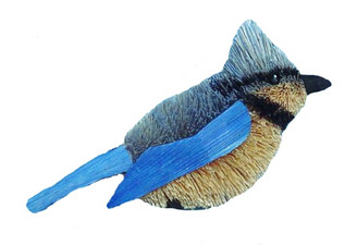 "Handmade Ornament - Blue Jay - 4"""