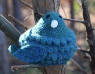 WOOLY BIRD SITTING - TURQUOISE