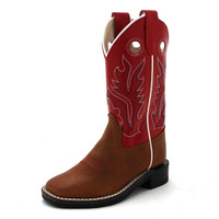 OLD WEST KIDS RED/TAN SQUARE TOE BOOT