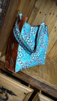 KURTMEN DESIGNS BOX TOTE BLUE AZTEC WITH STUDS