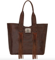 AMERICAN WEST MOHAVE CANYON BROWN PURSE WITH FRINGE CONCHO