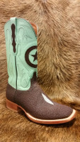 BLACK JACK BOOT - CHOCOLATE STING RAY W/ MINT CALF TOP