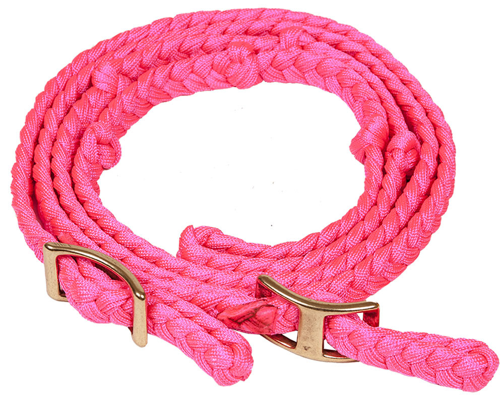 "NYLON FLAT BRAIDED KNOTTED BARREL REIN 3.4"" X 8"" - PINK"
