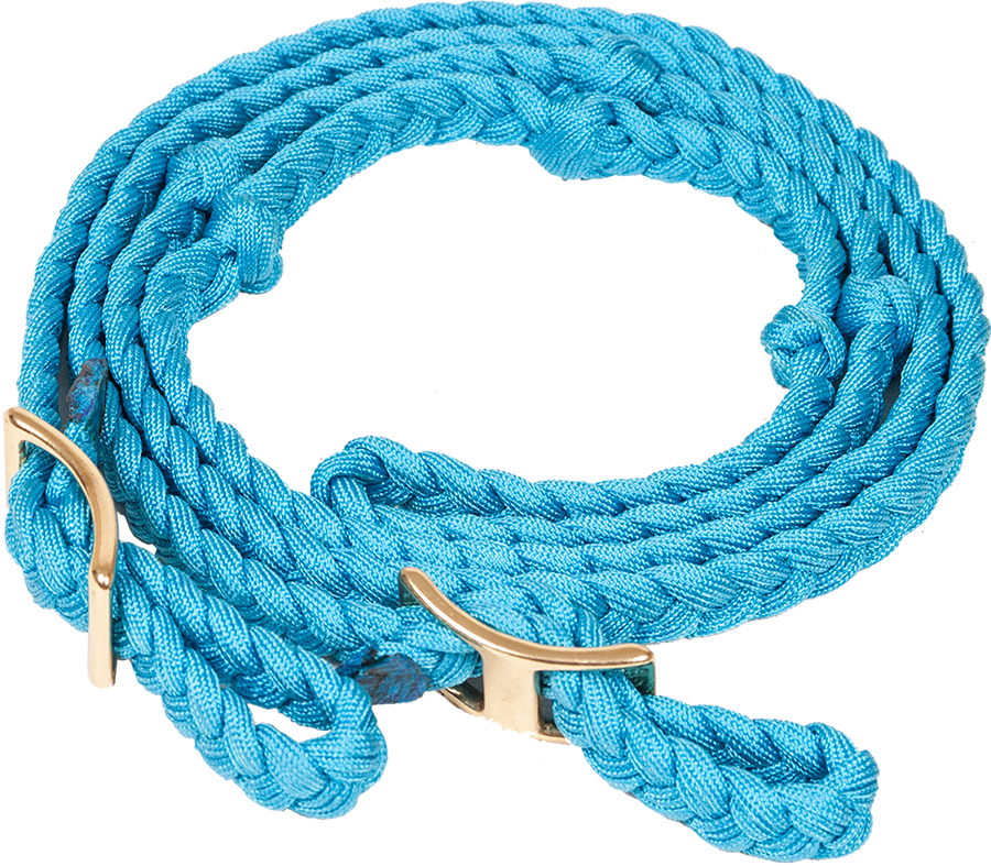 "NYLON FLAT BRAIDED KNOTTED BARREL REIN 3.4"" X 8"" - TURQUOISE"