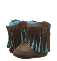 BABY BUCKERS FRINGE CANDACE BOOTS - BROWN/TURQUOISE