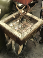 COWHIDE LINED SHADOWBOX END TABLE WITH HORN LEGS