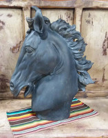 BLACK SCULPTED HORSE HEAD