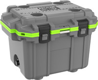 30 QT GREY AND LIME PELICAN COOLER FROM DENNARDS