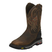MEN'S JUSTIN BROWN STEEL TOE ELECTRICAL HAZARD BOOT - FREE SHIPPING