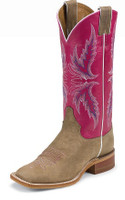 JUSTIN BENT RAIL LADIES TAN VINTAGE COW/DARK PINK CLASSIC BOOT