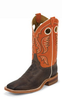 JUSTIN BENT RAIL MEN'S CHOCOLATE AMERICA COW BOOT