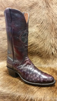 BLACK JACK BOOT BLACK CHERRY FULL QUILL OSTRICH W/ BLACK CHERRY TOP