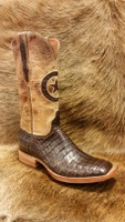 BLACK JACK BOOT CHOCOLATE CAIMAN BELLY W/ PEARL MAD DOG TOP