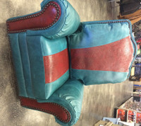 TURQUOISE/RED SWIVEL ROCKER RECLINING CHAIR