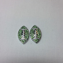 Two Green Crystal Metal Footballs 25mmx15mm