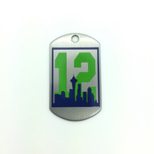 #12 Dog Tag with Seattle Skyline