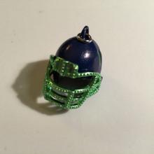 Blue & Green Enamel Football Helmet Charm 25x25mm