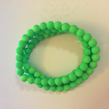 10mm Rubberized Green Glass Beads 32in strand