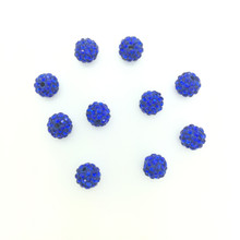 Royal Blue Crystal (Pave) Balls, 4mm, Hole 1mm, 10 pieces