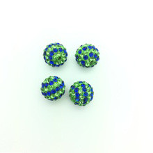 Blue & Green Crystal Balls, 12mm, Hole 1mm, 4 pieces