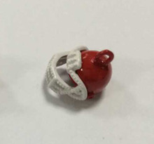 Red & White Enamel Football Helmet Charm 12x12mm, 10 pieces