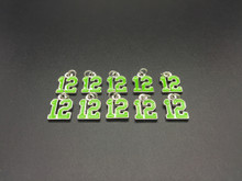 #12 Green Enamel Charm 10 pieces
