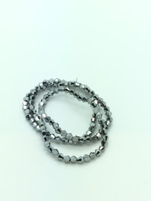4mm Silver Faceted Bicone