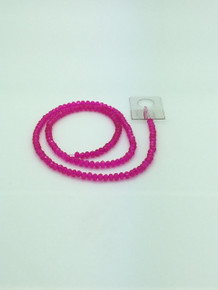 4x3mm Hot Pink Faceted Rondelle