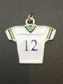 28x30mm #12 White & Blue Jersey Charm