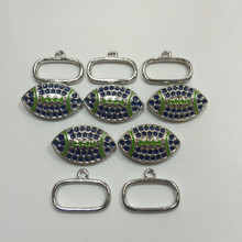 Blue & Green 25x15mm Football Toggle 5 pieces