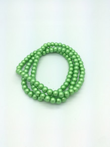 "8mm Matte Green Glass Pearls 32"" Strand"