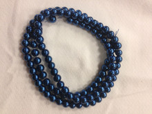 "8mm Dark Blue Glass Pearls 32"" Strand"