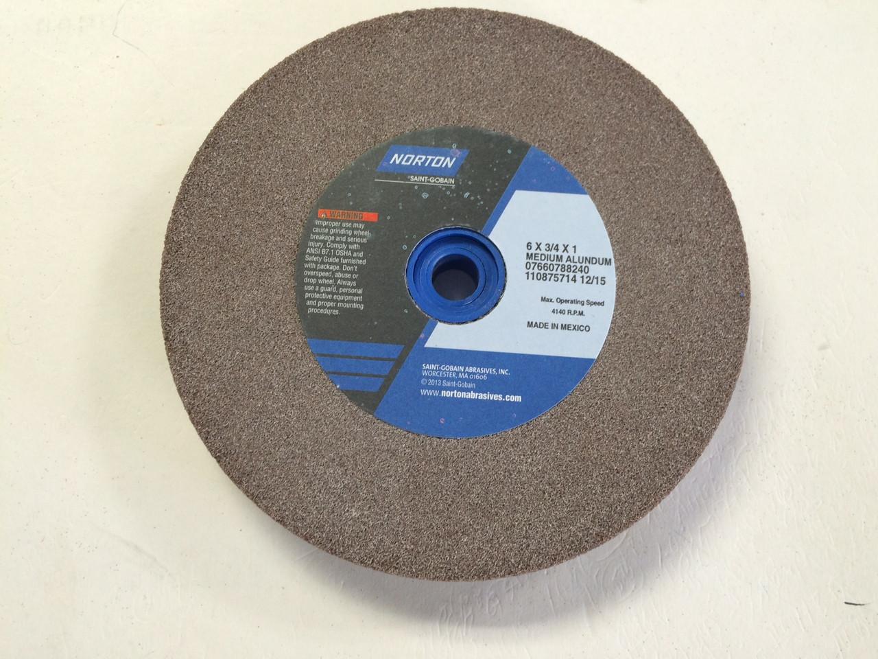 Norton 07660788240 6 X3 4 X1 60 Grit Medium Bench Grinding Wheel New